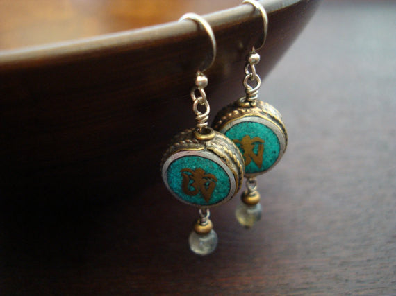 Tibetan Turquoise Om Earrings