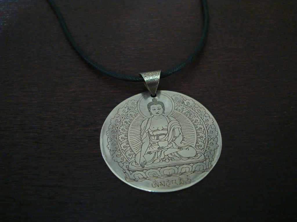 Mens White Brass Buddha Necklace