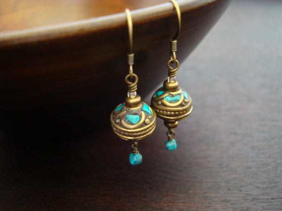 Tibetan Turquoise & Coral Bauble Earrings