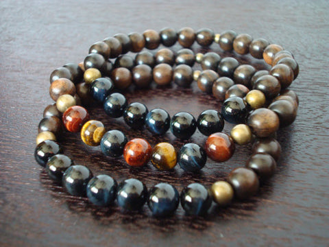 Men's Tiger's Eye Mala Bracelet Stack