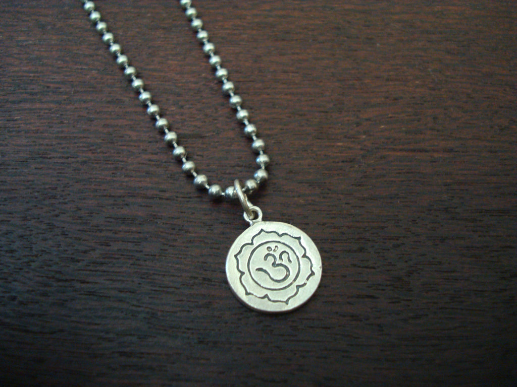 Mens Sterling Silver Om Necklace