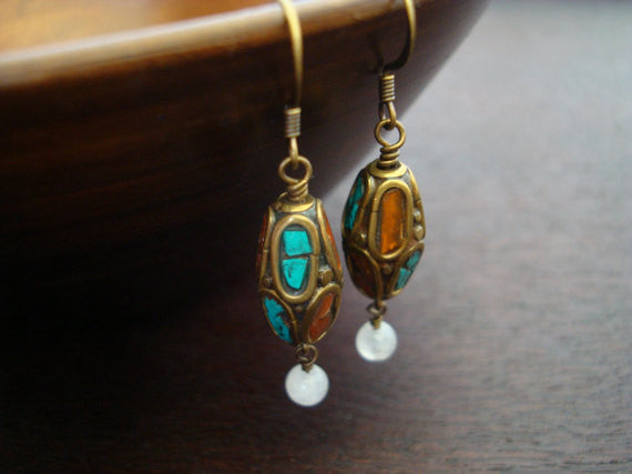 Tibetan Turquoise & Carnelian Earrings