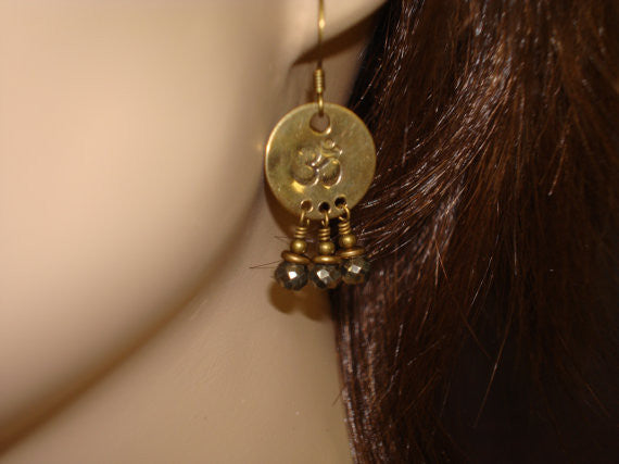 Om Pyrite Earrings