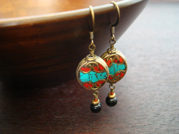 Tibetan Turquoise & Onyx Earrings