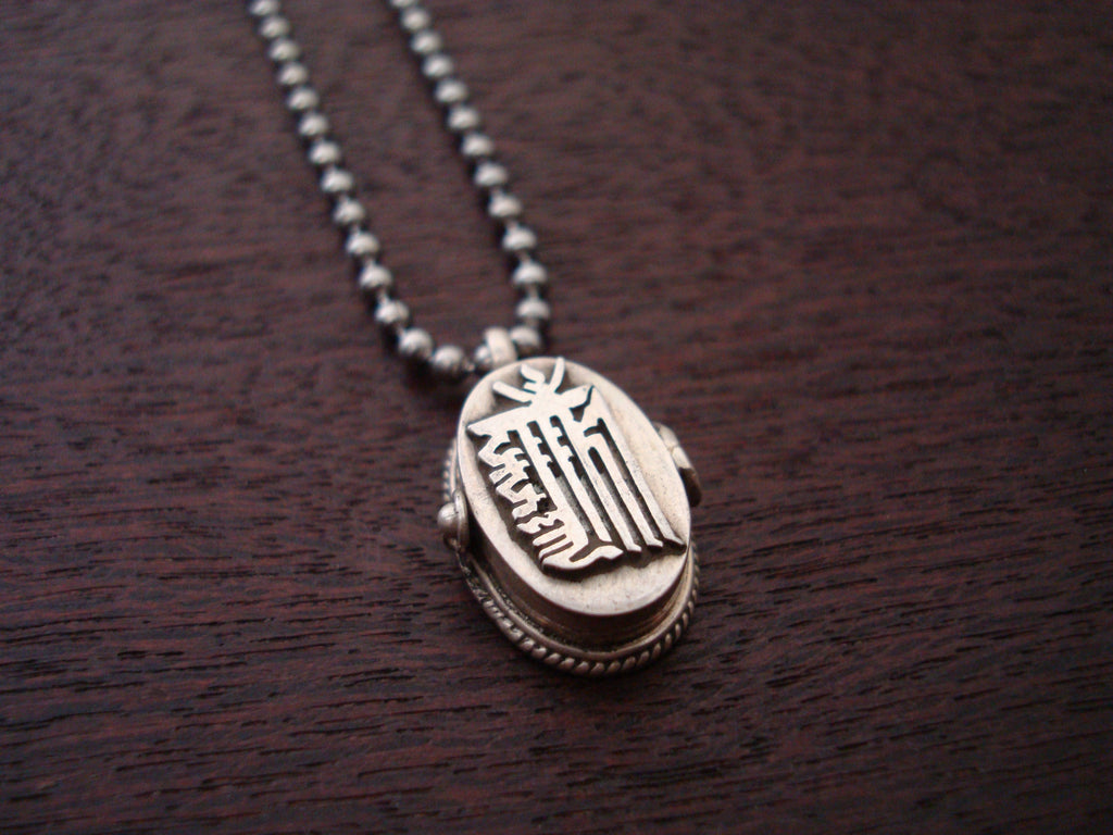 Mens Tibetan Peace Sign Locket Necklace