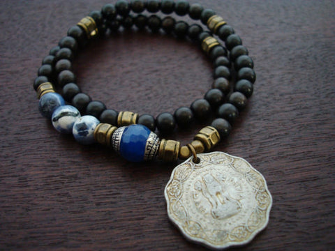 Tibetan Blue Jade Indian Coin Mala Bracelet