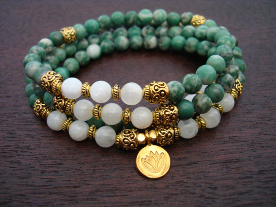 China Jade & Moonstone Prosperity Mala