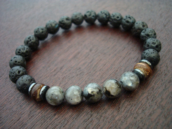 Men's Black Moonstone Mala Bracelet