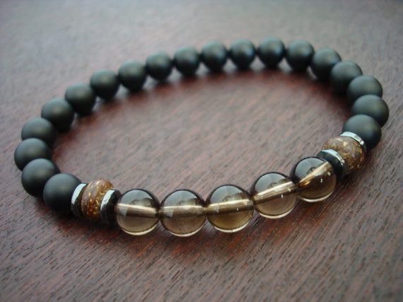 Men's Smoky Quartz Positivity Mala Bracelet