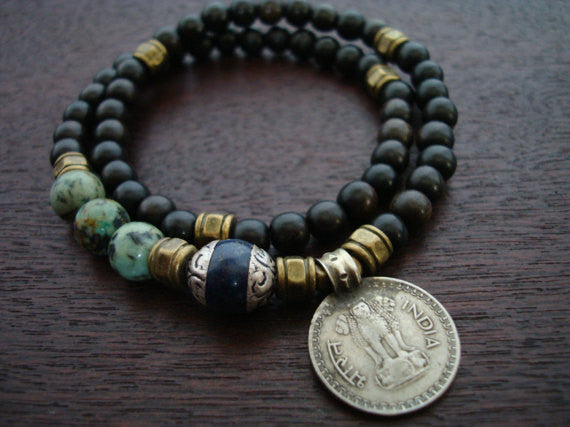 Tibetan Lapis Indian Coin Mala Bracelet