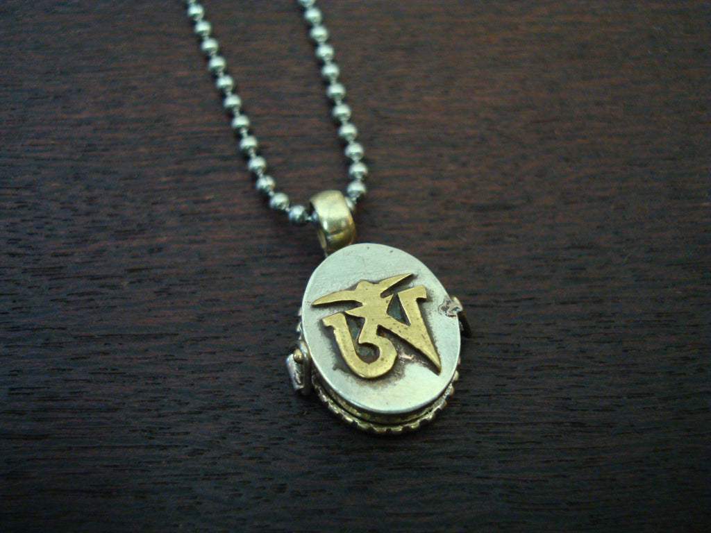 Mens Tibetan Om Locket Necklace