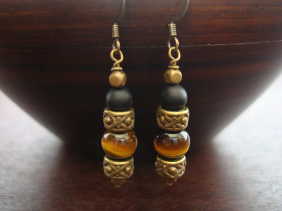Tiger's Eye & Onyx Earrings