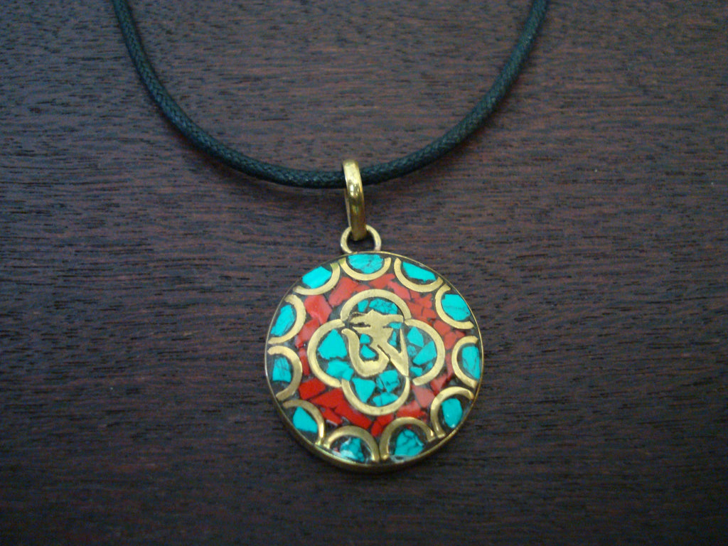 Mens Tibetan Inlaid Om Necklace