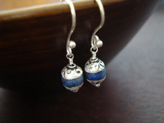 Tibetan Capped Lapis Earrings