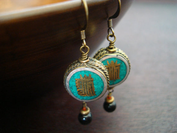Tibetan Kalachakra Peace Sign Earrings