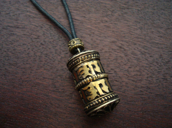 Tibetan Lotus Mantra Prayer Wheel Necklace
