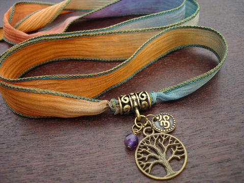 Tree of Life, Om, & Amethyst Silk Wrap Bracelet