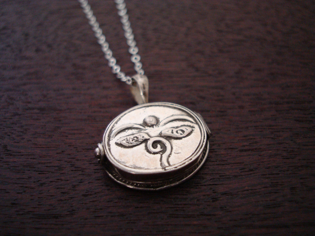 Sterling Compassion Eyes Locket Necklace