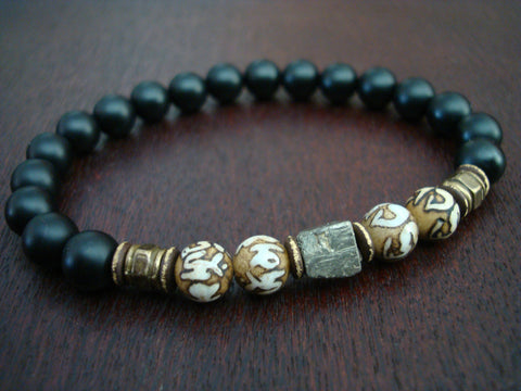 Men's Pyrite Compassion Mantra Bracelet