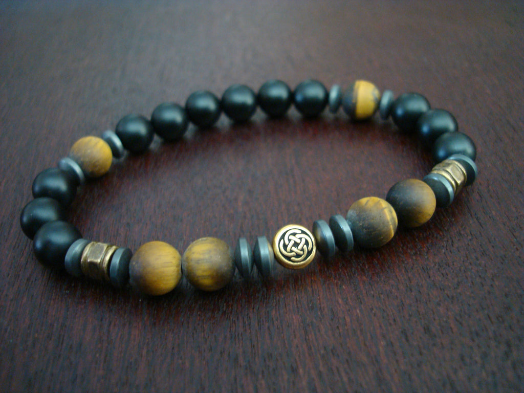 Men's Matte Tiger Eye Celtic Knot Bracelet