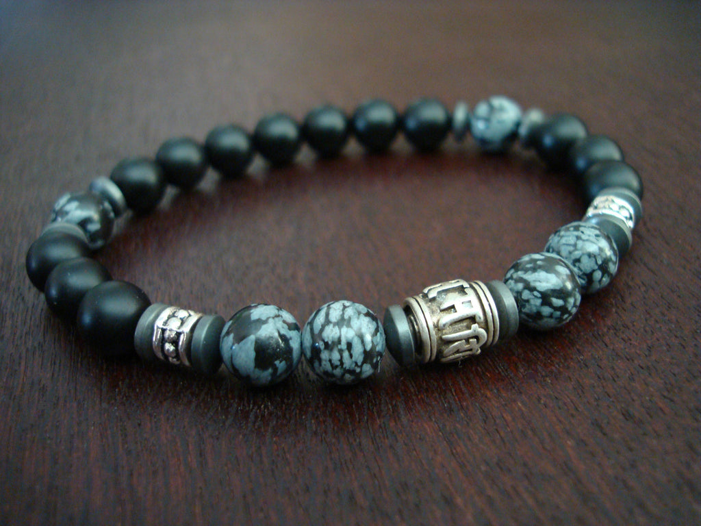 Men's Sterling Silver Compassion Mantra Bracelet