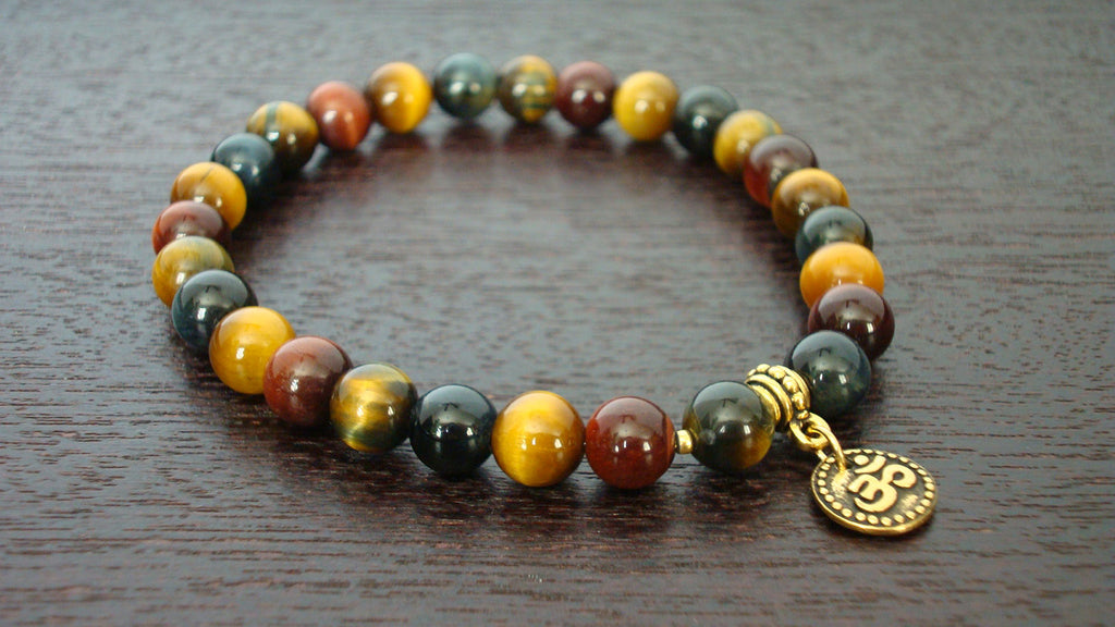 Men's Mixed Tiger's Eye Mala Bracelet