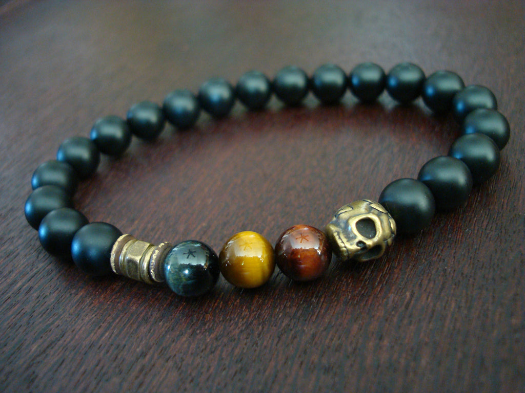 Men's Mixed Tiger Eye Skull Mala Bracelet