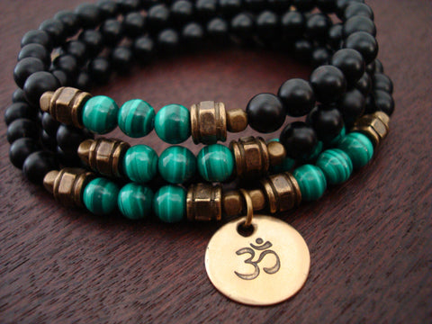Men's Malachite Om Mala