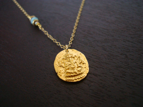 Gold Ganesha Coin Necklace
