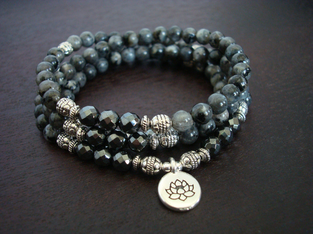 Women's Black Moonstone Mala
