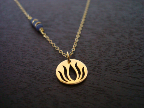 Indian Sapphire Lotus Necklace