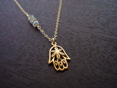 Aquamarine Hamsa Necklace