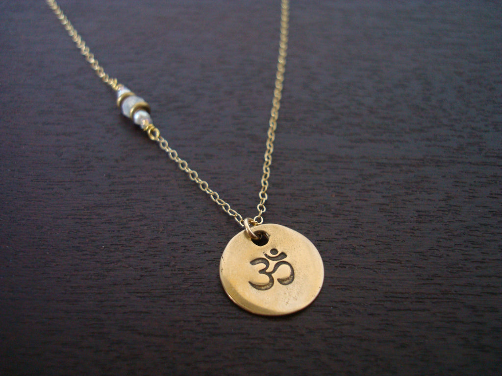 Moonstone Pearl Om Necklace