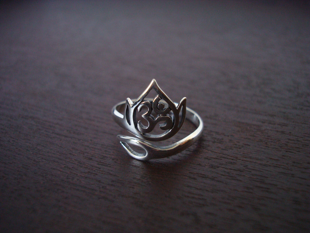 Sterling Silver Adjustable Om Lotus Ring