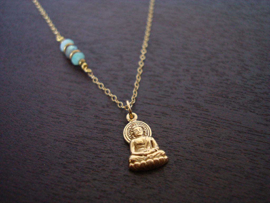 Peruvian Blue Opal Buddha Necklace
