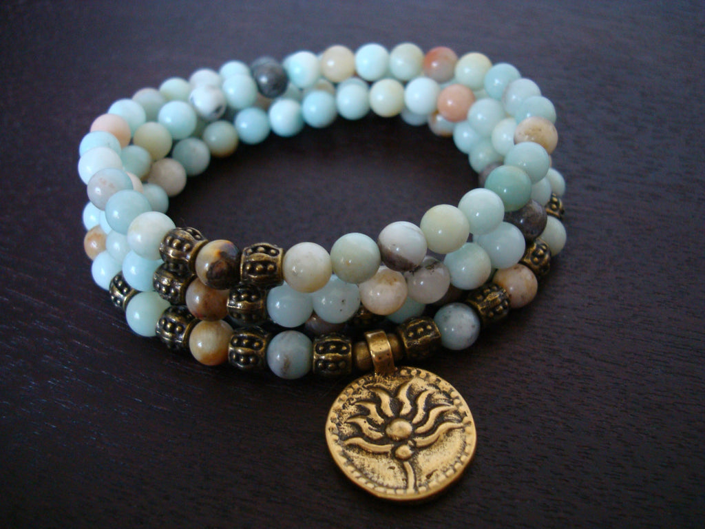Women's Amazonite Lotus Mala