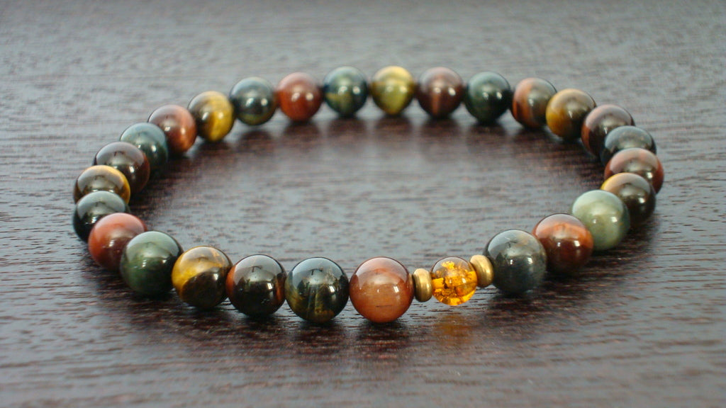 Mixed Tiger's Eye Chakra Mala Bracelet