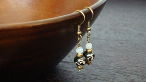 Moonstone & Tibetan Om Earrings