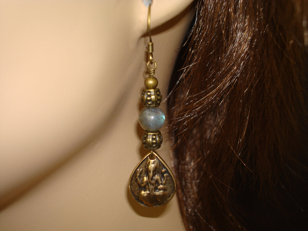 Women's Labradorite Ganesha Earrings