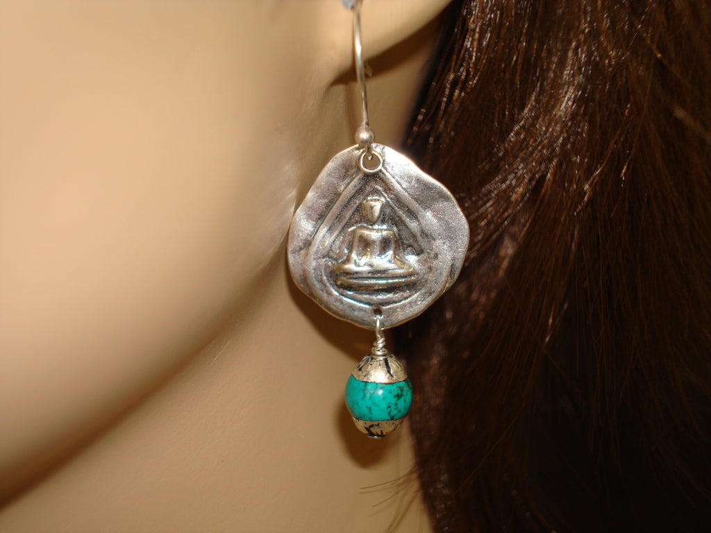 Women's Tibetan Turquoise Buddha Earrings