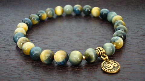 Blue Tiger's Eye Protection Mala Bracelet