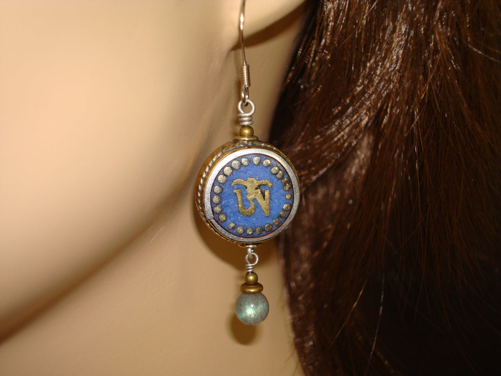 Women's Lapis Tibetan Om Earrings