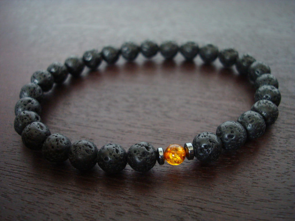 Men's Lava Rock & Baltic Amber Mala Bracelet