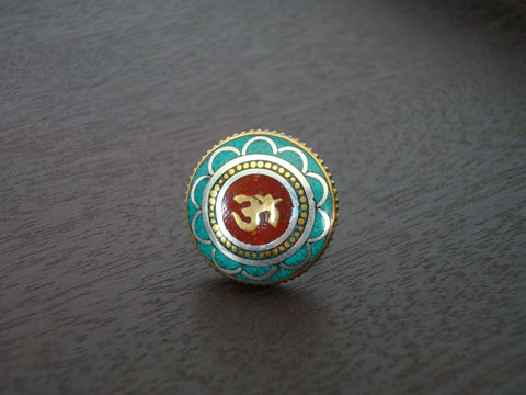 Turquoise Om Ring