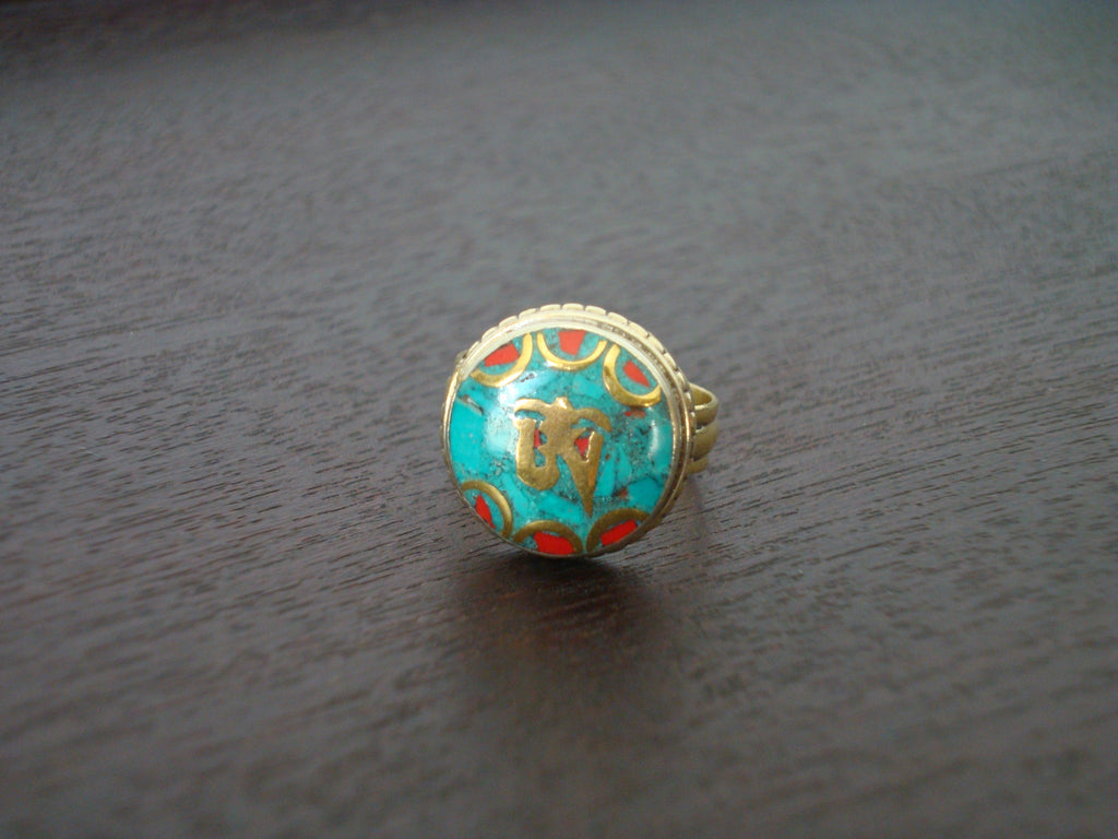 Tibetan Turquoise & Coral Om Ring