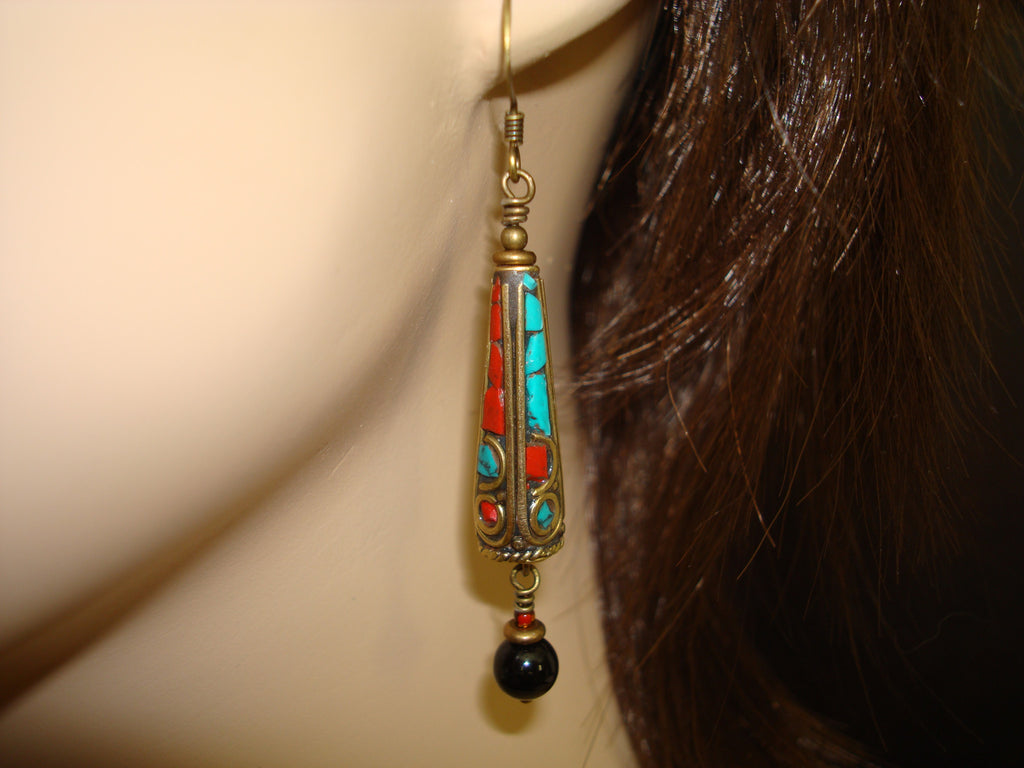 Women's Tibetan Turquoise Onyx Earrings