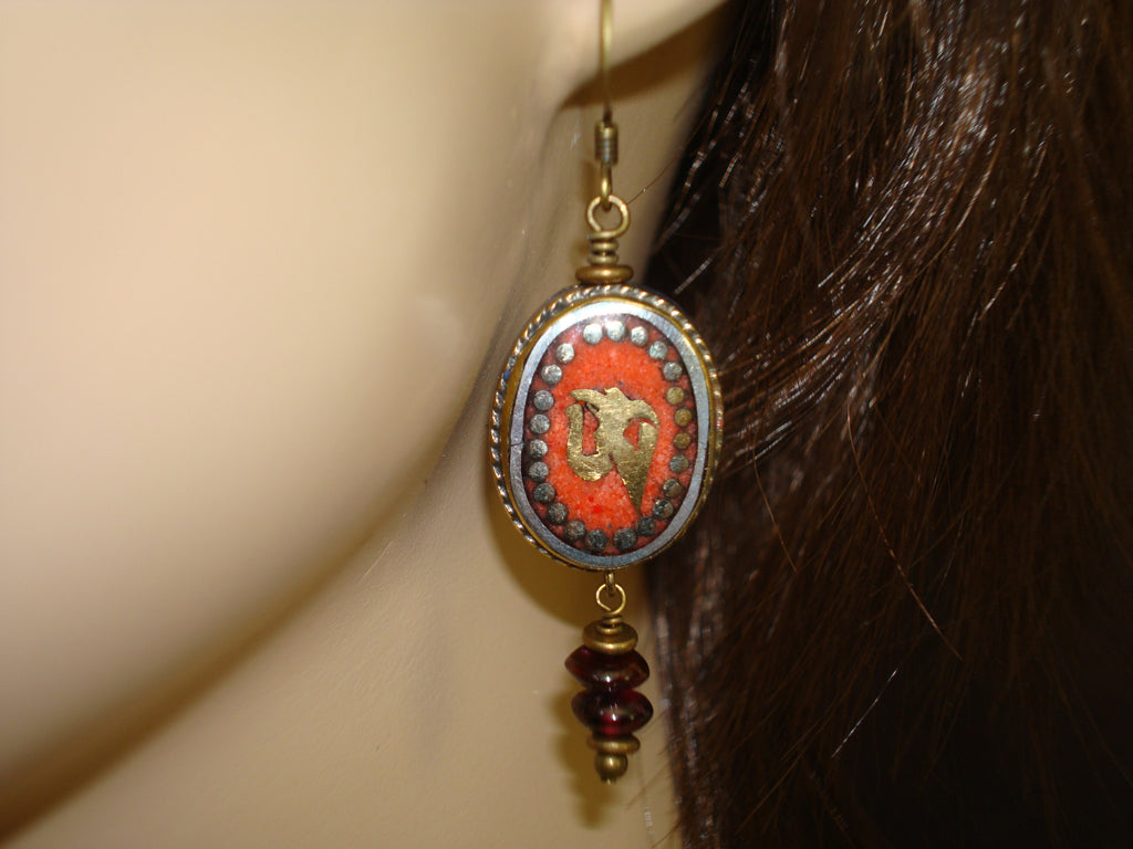 Women's Tibetan Coral Om Earrings