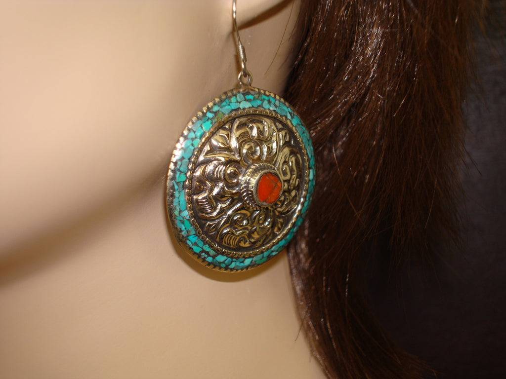 Women's Tibetan Turquoise Mandala Earrings
