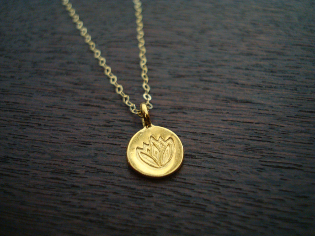 Tiny Gold Lotus Necklace
