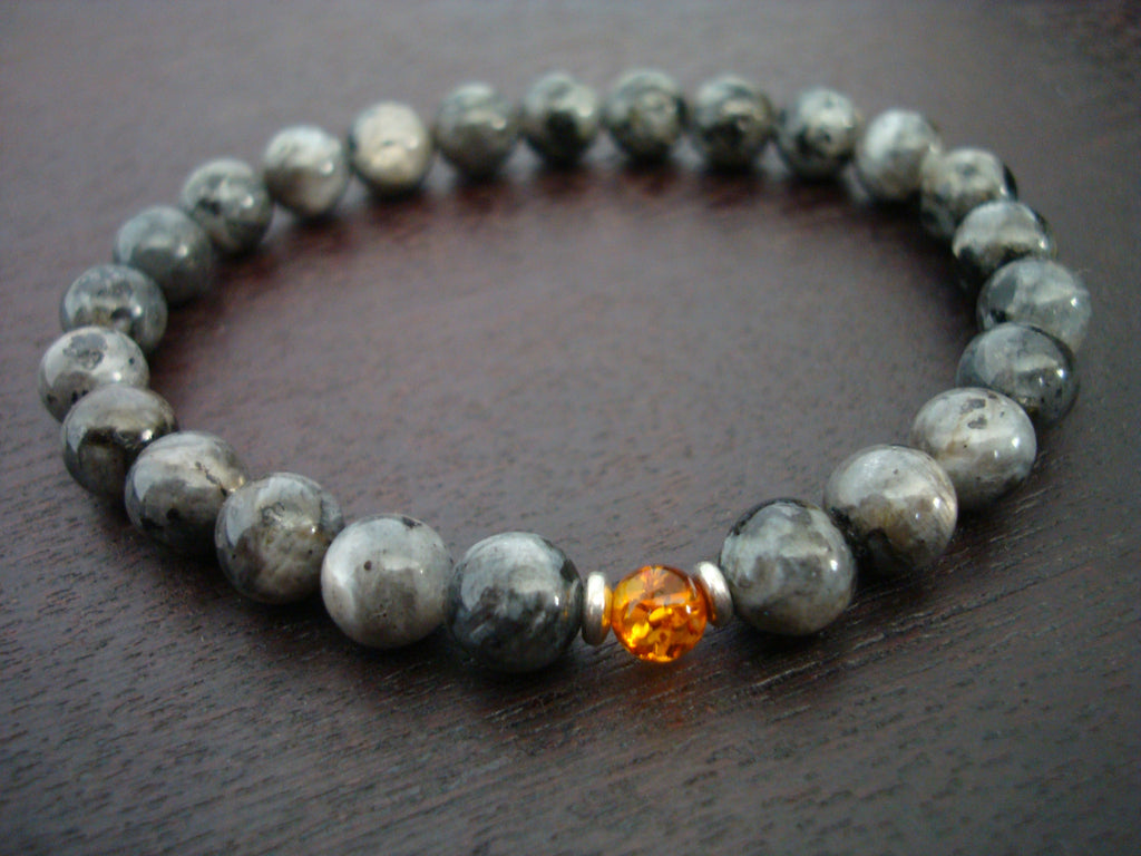 Baltic Amber & Black Moonstone Bracelet